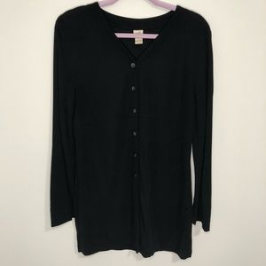 J Jill extra long heavy button down black top